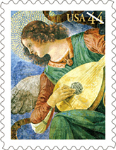 Angel with Lute Stamp
